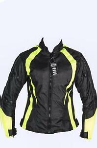 Ladies-Armoured-Water-Proof-Cordura-Textile-Motorbike-Motorcycle-Jacket-HighViz