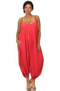 5c92c9710be New Women s Plus Size Coral Harem Jumpsuit Romper Sizes 1X 2X 3X 4X ...