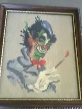 """Vintage Needlepoint Hand Made Stitched framed creepy macabre clown 8""""x10"""""""