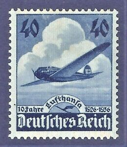 DR-Nazi-3rd-Reich-Rare-WW2-WWII-Stamp-Hitler-10-Lufthansa-Avia-Air-Mail-Swastika
