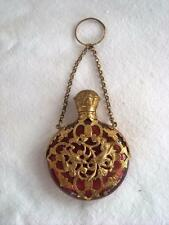 ANTIQUE RUBY RED GILT ORMOLU MOUNT CHATELAINE PERFUME SCENT BOTTLE C1880