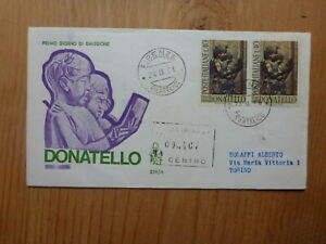 ITALY-1966-500th-ANNIV-DEATH-DONATELLO-2-STAMPS-REGISTERED-FDC