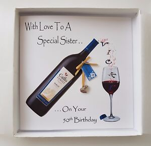 personalised 50th birthday card big sister red wine little sister