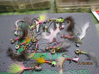 CUSTOM 1//32ND OZ 24 CRAPPIE//PANFISH//TROUT RUBBER TAIL JIG ASSORTMENT