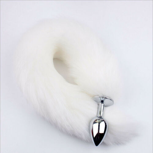 Funny Beginner Foxes White Faux Tail Plug Butt Stopper Anal Slicone Adult Toy UK