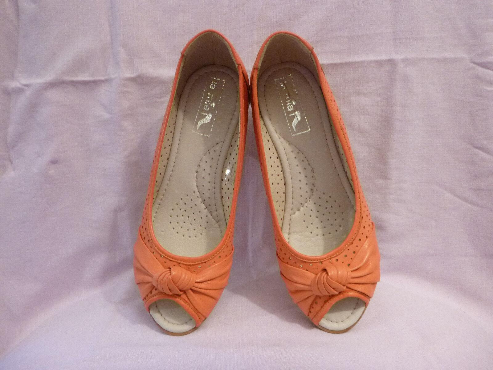 ! nuevo! la mia-coral-Peep Toe flamencopumps cuero abs.5, 5