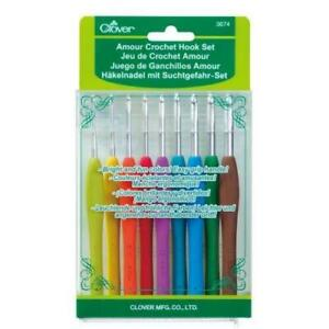 CLOVER-Amour-Crochet-Hook-Set-of-9-x-Hooks-Comfortable-Grip-Sizes-2-0-6-0mm