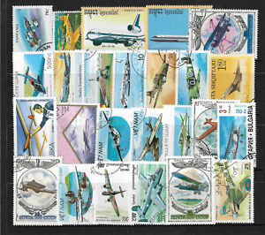 AIRCRAFT-AEROPLANES-Collection-Packet-of-25-Different-WORLD-Stamps-Lot-2