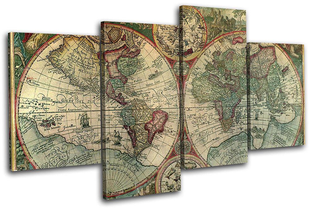 Old Latin World Atlas Latin Old Maps Flags MULTI LONA pa rojo  arte Foto impresion 331504