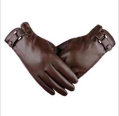 Men's Genuine Lambskin Leather Button Wrist Winter Warm Fleece Lining Gloves