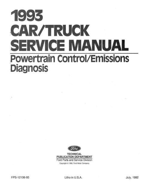 1993 Ford Lincoln Mercury Engine Emissions Diagnosis Shop