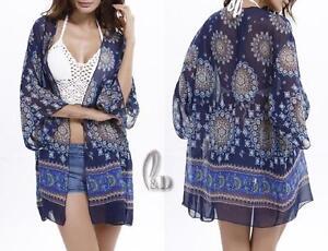 AU SELLER Oversize Chiffon Kaftan Open Top Shirt Beach Kimono Cover UP sw054-3