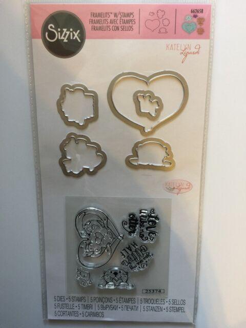 Sizzix Stamp /& Framelits Die Set by Jen Long Heart Arrows Flowers,Hello Love NEW
