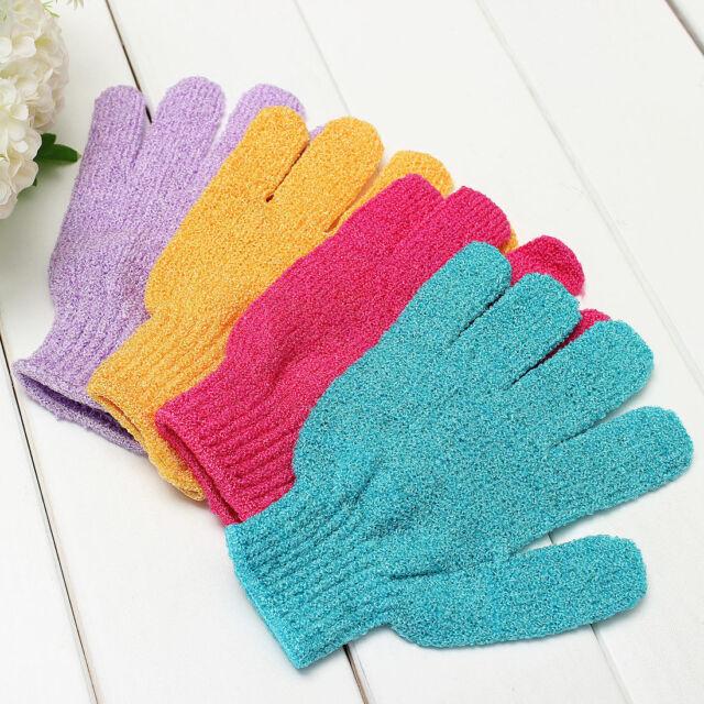 2X Exfoliating Body Scrub Gloves Shower Bath Mitt Loofah Skin Massage SpongeCLA