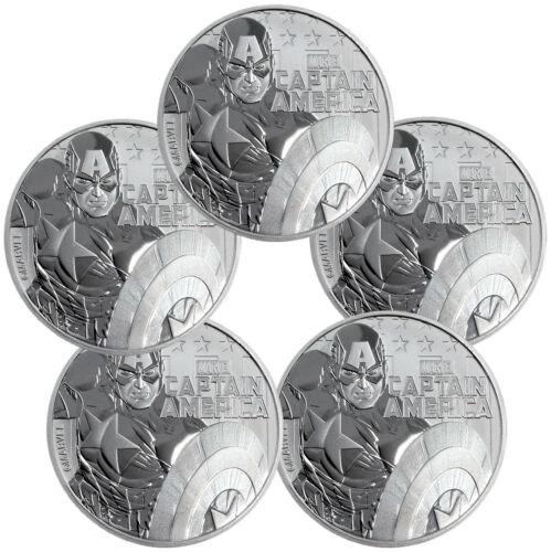Lot of 5 2019 Tuvalu Captain America 1 oz Silver Marvel $1 BU SKU56980