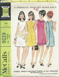 Details about M 9119 sewing pattern 60's front back WRAP DRESS sew EASY  size Small 8-10 Trendy