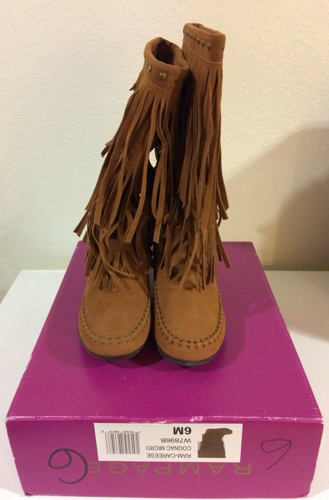 Women's Rampage Ram-Careese Cognac Micro Brown Fringed Boots - - - W7896B  Size 6M 37bed8