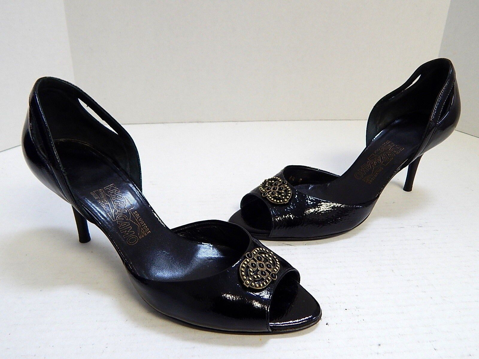 Salvatore Ferragamo Black Krinkle Patent Leather Studded D'orsay Pumps Italy 8.5