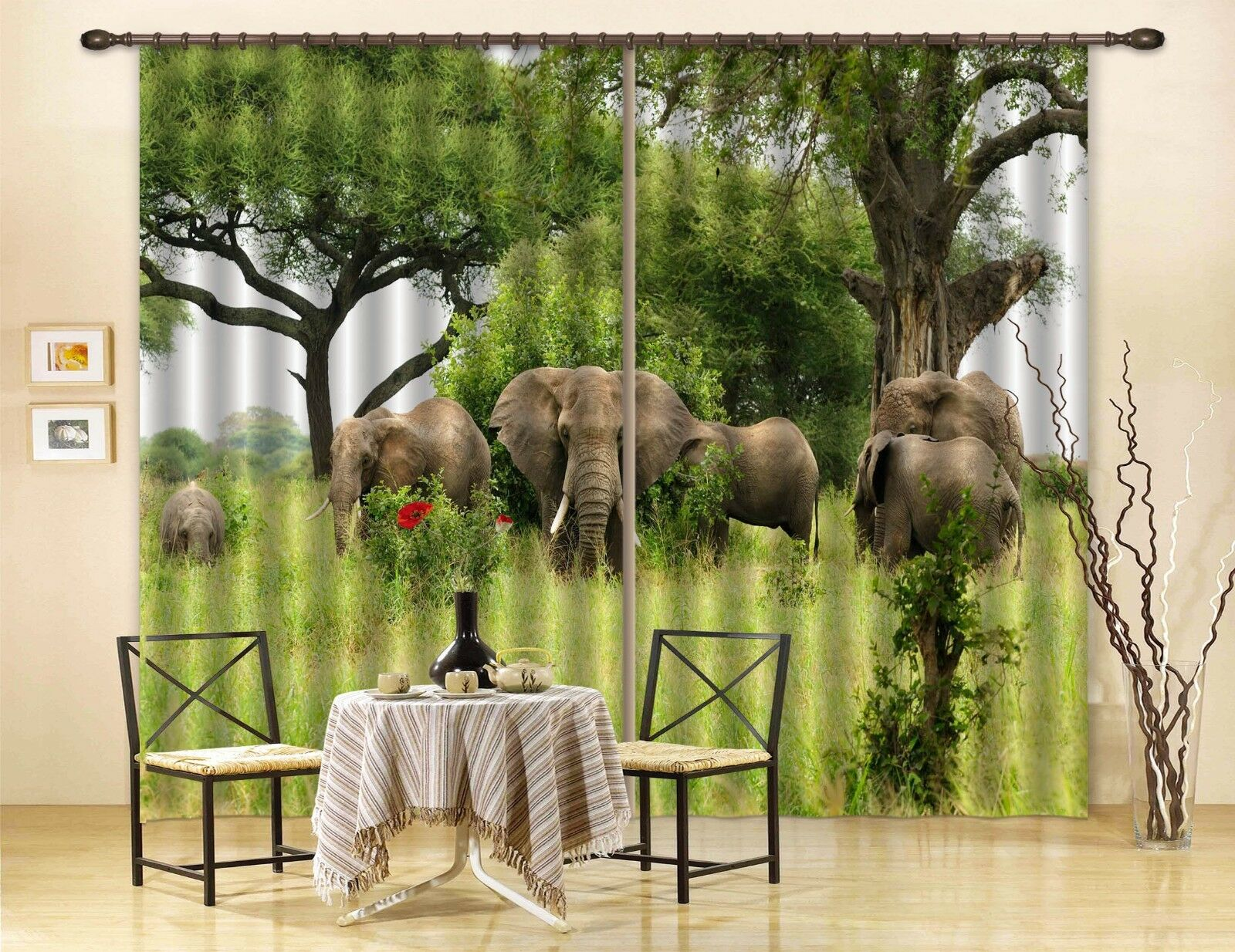 3D Elefantengras 8 Blockout Photo Curtain Print Curtains Drapes Fabric Window AU