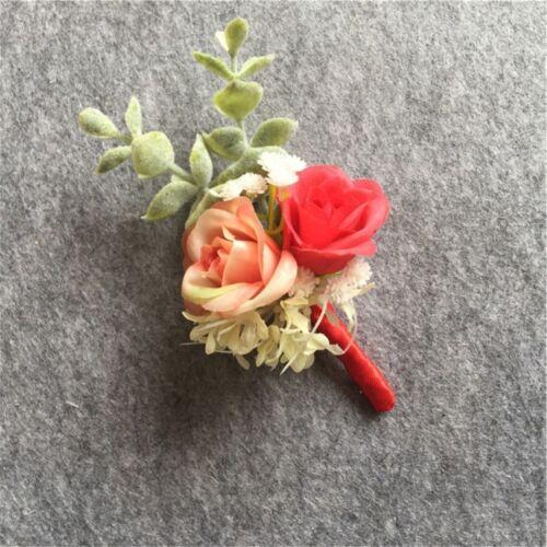 Silk Rose Flower Man Boutonniere Wedding Groom Brooch Pin Party Prom