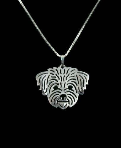 Silver Bichon Frise Pendant Necklace Jewellery Collectable with 18 inch Chain