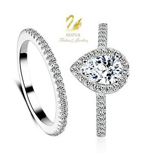 18K-White-Gold-Plated-Simulated-Diamond-Teardrop-Engagement-Wedding-Ring-Set