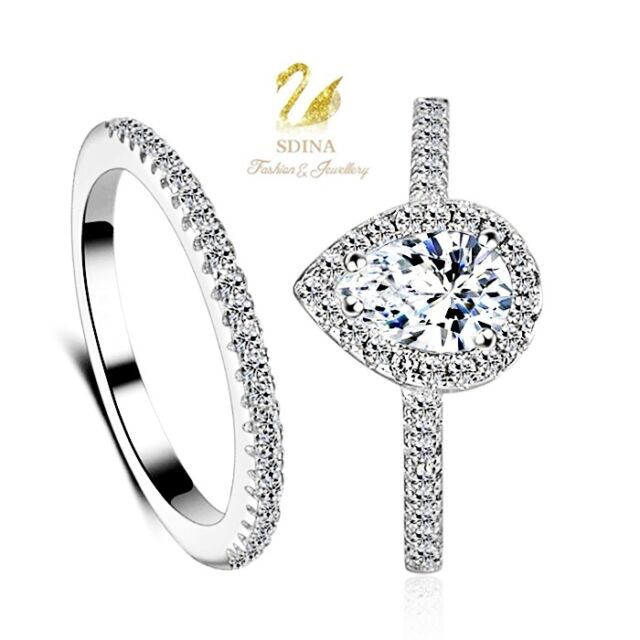 18K White Gold Plated Simulated Diamond Teardrop Engagement Wedding Ring Set