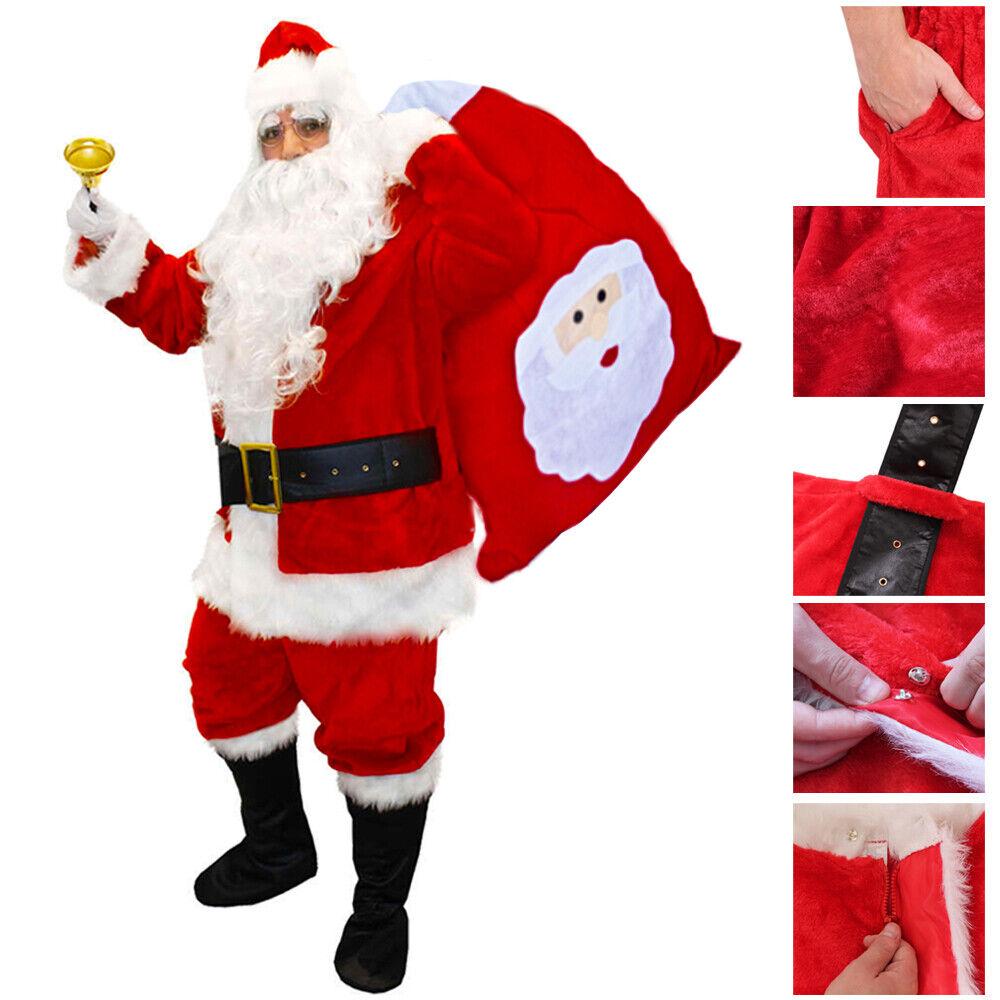 Halfjuly Men/'s Santa Costume Set Christmas 12pcs Deluxe Velvet Adult Santa Claus Suit