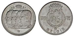 100-Francs-Belgium-100-Francs-Belgica-Ag-4-Belge-Kings-1951-au-Sc