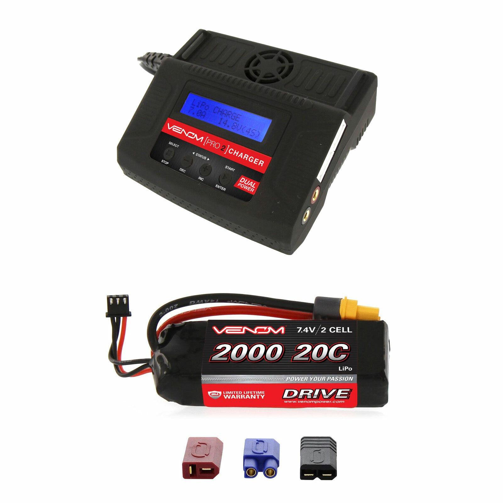 Venom 20C 2S 2000mAh 7.4V LiPo Battery and Pro 2 Charger Combo