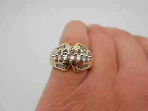 Zales 14k Solid Yellow Gold Natural Champagne Diamond Cocktail Ring Size 7 5 Ebay
