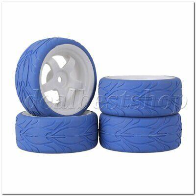 4PCS Black Al 7Spoke Wheel Rim /& Blue Fish Scale Tyre for RC1:10 On Road Car
