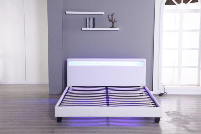 Cool Bedroom Leather Platform Slat Bed Frame Headboard Led Light Furniture Full Size Creativecarmelina Interior Chair Design Creativecarmelinacom