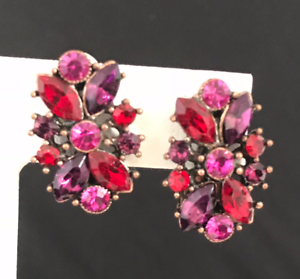 Kirks-Folly-Earrings-Antique-Copper-Tone-Pink-amp-Purple-Crystals-Clip-7H