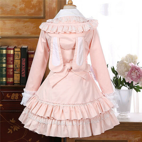 Ladies Gothic Victorian Palace Winter Christmas Lolita Dress Princesses Coat