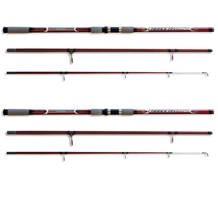 2 x 14FT Beach caster Sea Fishing Carbocast Rods Lineaeffe Beach Sea Beachcaster