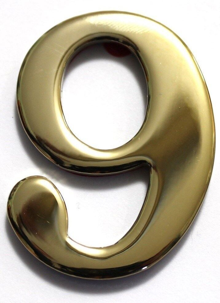 """Imperial Mailbox Numbers Brass 3/"""" replacement address no screws solid zero-nine"""