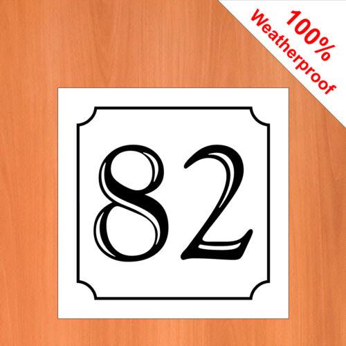 """3/"""" Weatherproof Auto-Adhésif Vinyle Maison Numéro Autocollant 51-99 Noir sur Blanc"""