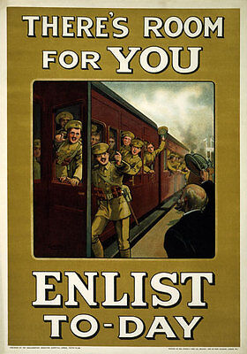 WA12 Vintage WWI Theres Room For You British Recruitment War Poster WW1 A4