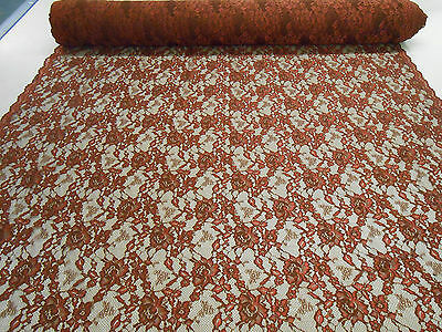 RED WINE SCALLOPED LACE FABRIC GOTHIC FLORAL PATTERN SLIGHT STRETCH PER METRE