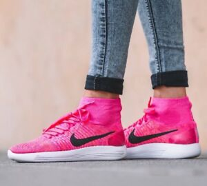 new product ab987 64b88 Image is loading New-Nike-LunarEpic-Flyknit-Pink-Black-Trainers-Women-