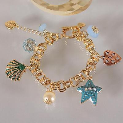 B259 BETSEY JOHNSON Deep Sea Summer Beach Star Starfish Shell Chain Bracelet US