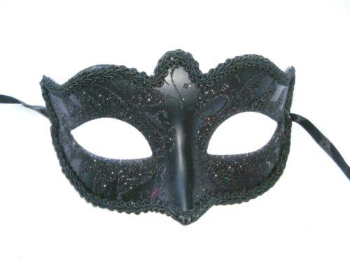 MASQUERADE HALLOWEEN FANCY DRESS HEN PARTY LADIES BLACK GLITTER SWAN EYE MASK
