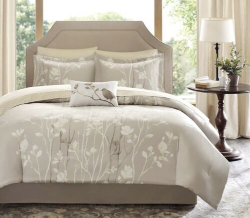 MADISON PARK ESSENTIALS, VAUGHN, Complete Cal King Bed & Sheet Set/9 Piece. NEW.