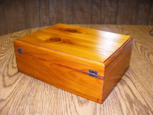 Large Cedar Keepsake Box 10.75 x 8 x 4 Inches Glossy French Rubbed Finish