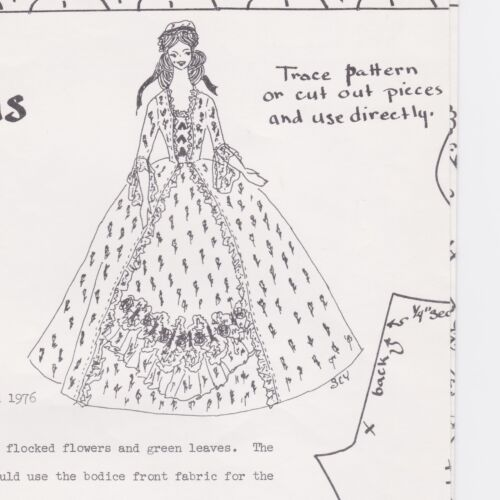 LADY OF THE REVOLUTION  4TH OF JULY  GOWN Doll Pattern For BARBIE  RARE