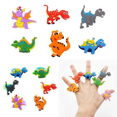 2//10Pcs Kids Cute Rubber Dinosaur Finger Ring Animal Cartoon Rings Party Favors