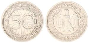 3.Reich / Weimar 50 Peniques 1927J Fast St