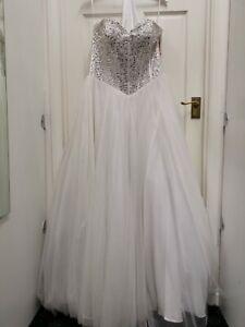 Tiffanys Francesca Boda Baile Vestido Marfil Vestido Talla 14 BNWT