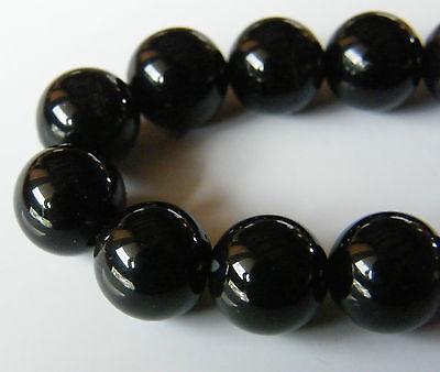 40pcs 10mm Round Natural Gemstone Beads - Obsidian Black